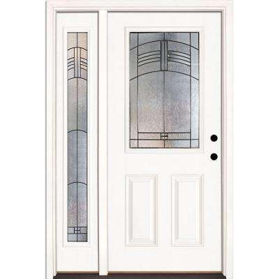 50.5 in. x 81.625 in. Rochester Patina 1/2 Lite Unfinished Smooth Fiberglass Prehung Front Door with Sidelite