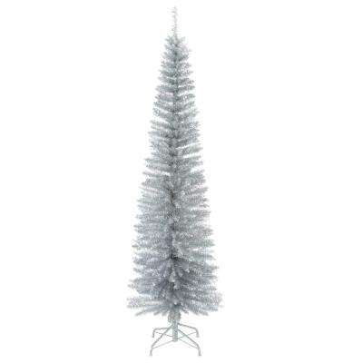 6.5 ft. Decorator's Slim Silver Tinsel Artificial Christmas Tree