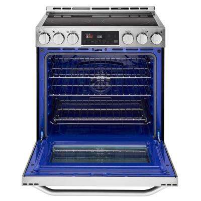 6.3 cu. ft. Slide-In Electric Range with Warming Drawer in Stainless Steel