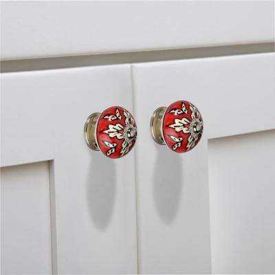 Leaf On Red 1-3/5 in. (40 mm) White and Red Cabinet Knob