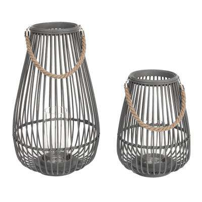 14.9 in. Wood and Metal Outdoor Patio Lantern