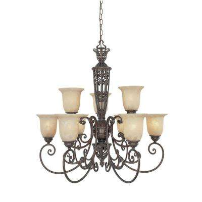 Somerset 9-Light Burnt Umber Hanging Chandelier