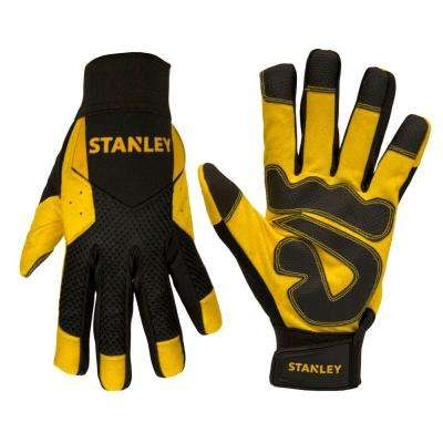 Men's Large Yellow Synthetic Leather Palm Gloves