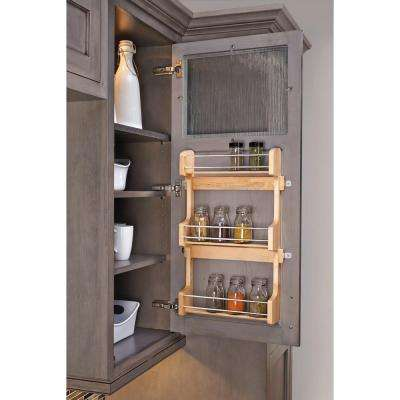 13.5 in. Three-Shelf Medium Wood Spice Rack for Cabinet Doors