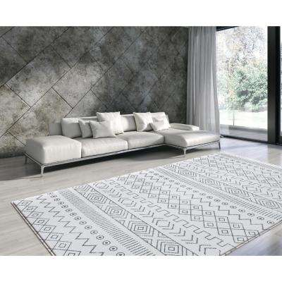 Soft Modern Blue and Cream 8 ft. x 4.5 ft. Boho Reversible Indoor Area Rug