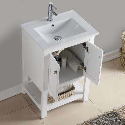 Bradford 24 in. W Traditional Bathroom Vanity in White with Ceramic Vanity Top in White with White Basin