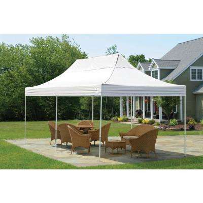 10 ft. W x 20 ft. H Straight-Leg Pop-Up Canopy with White Cover, Black Roller Bag, and 4-Position-Adjustable Steel Frame
