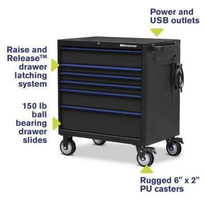 36 in. x 24 in. 6-Drawer Roller Cabinet Tool Chest with Power and USB Outlets in Black and Blue