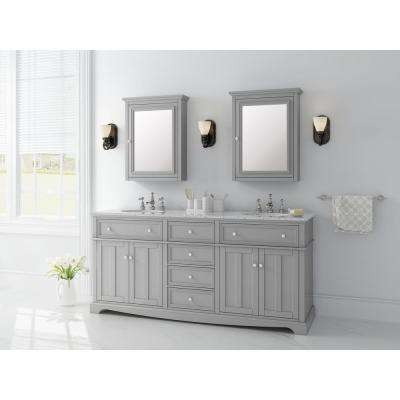Fremont 72 in. W x 22 in. D Double Vanity in Grey with Granite Vanity Top in Grey with White Sink