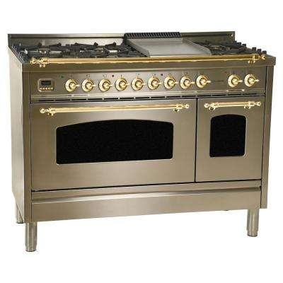 48 in. 5.0 cu. ft. Double Oven Dual Fuel Italian Range True Convection,7 Burners, Griddle,Brass Trim in Stainless Steel