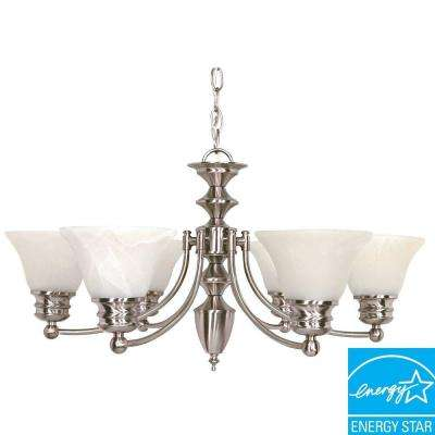 6-Light Brushed Nickel Hanging Chandelier