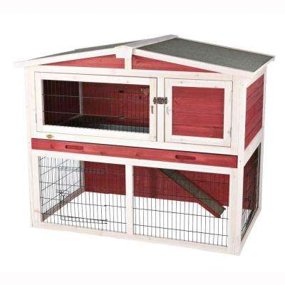 4 ft. x 2.5 ft. x 3.5 ft. Medium Rabbit Hutch with Peaked Roof in Red/White