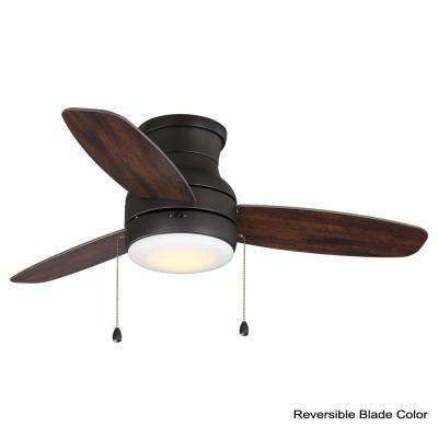 Ashby Park 44 in. White Color Changing Integrated LED Bronze Ceiling Fan with Light Kit