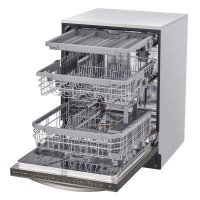 Top Control Dishwasher in Black Stainless Steel Wi-Fi Enabled with QuadWash