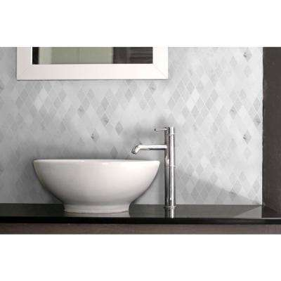 Marble Medley Carrara Diamond 12 in. x 12 in. x 7.9 mm Mixed Finish Marble Mesh-Mounted Mosaic Tile