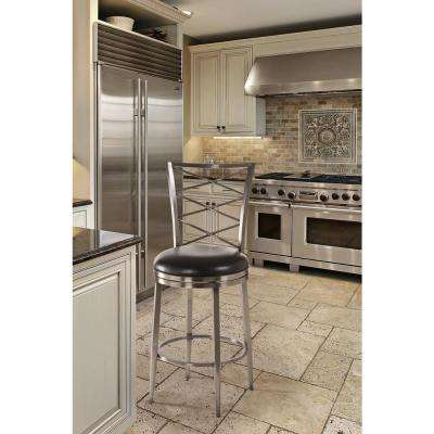 Harlow 30 in. Swivel Cushioned Bar Stool in Antique Pewter Finish