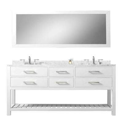60 in. Vanity in Carrara White with Marble Vanity Top in Carrara White and Mirror