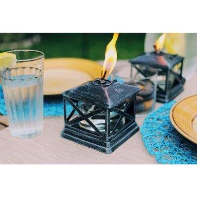 5.5 in. Petite Lantern Metal Table Torch Black (2-Pack)