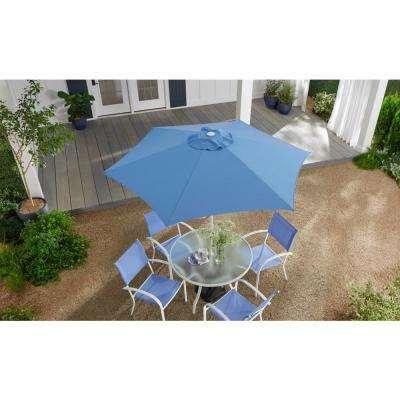 7.5 ft. Steel Market Outdoor Patio Umbrella in Periwinkle Polyester