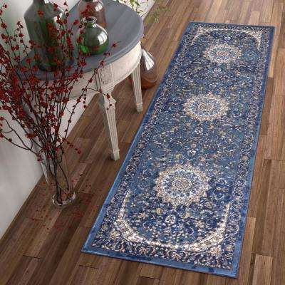 Luxury Mahal Blue 2 ft. x 8 ft. Traditional Medallion Vintage Distressed Runner Rug