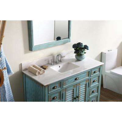 Palm Beach 46.5 in. W x 21.75 in. D Vanity in Distressed Blue with Marble Vanity Top in White with White Basin
