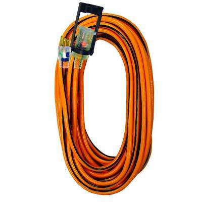 25 ft.14/3 SJTW Outdoor Extension Cord with E-Zee Lock and Lighted End, Orange with Black Stripe