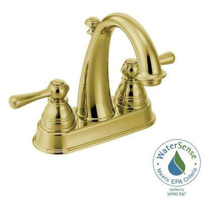 Kingsley 4 in  Centerset 2 Handle High Arc Bathroom Faucet in Polished Brass. Brass   Bath Faucets   Showerheads   The Home Depot