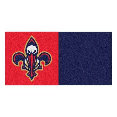 NBA - New Orleans Pelicans Red and Blue Pattern 18 in. x 18 in. Carpet Tile (20 Tiles/Case)