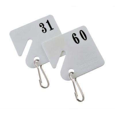 Plastic Key Tags Numbered 31 to 60