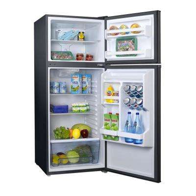 10.0 cu. ft. Retro Top Freezer Refrigerator with Dual Door True Freezer, Frost Free in Black