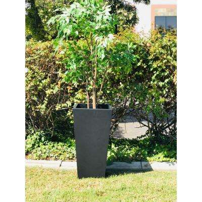 28 in. Tall Burnished Black Lightweight Concrete Modern Tapered Tall Square Outdoor Planter
