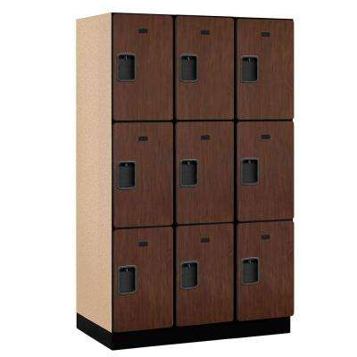 23000 Series 3-Tier Wood Extra Wide Designer Locker in Mahogany - 15 in. W x 76 in. H x 21 in. D (Set of 3)