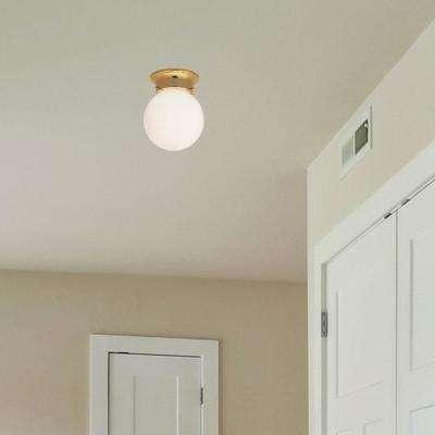 1-Light Polished Brass Flush Mount with White Shade