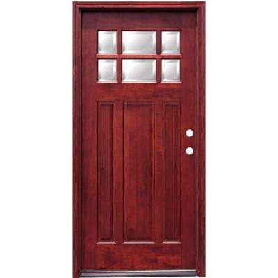 36 in. x 80 in. Craftsman 6 Lite Stained Mahogany Wood Prehung Front Door with 6 in. Wall Series
