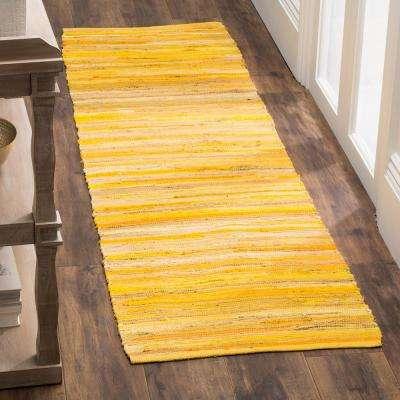 Rag Rug Yellow/Multi 2 ft. 3 in. x 10 ft. Runner Rug