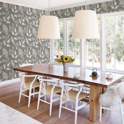 Trianon Grey Botanical Wallpaper