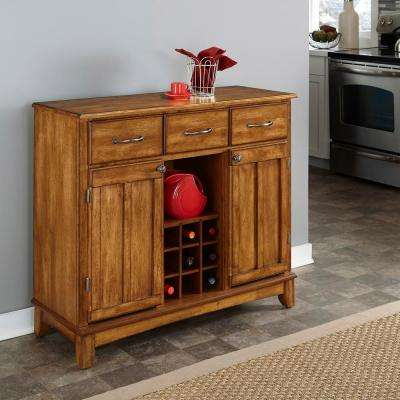 3-Drawer 44 in. W Cottage Oak Buffet with Cottage Oak Wood Top