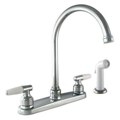 2-Handle Standard Kitchen Faucet with White Side Sprayer in Chrome