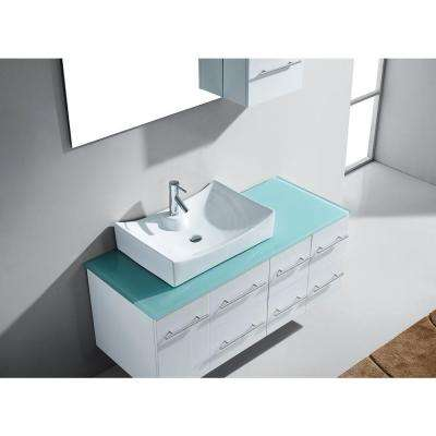 Ceanna 54 in. W Bath Vanity in White with Glass Vanity Top in Aqua with Square Basin and Mirror and Faucet