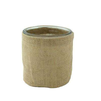 4 in. Round Burlap with Glass Cylinder