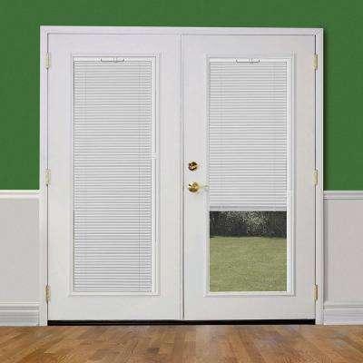 72 in. x 80 in. Primed White Fiberglass Prehung Right-Hand Inswing Mini Blind Patio Door w/ Brickmold, Vinyl Frame