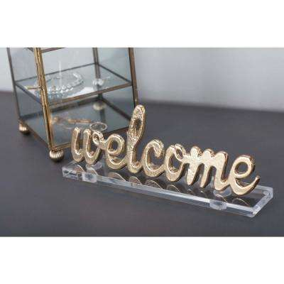 "9 in. x 4 in. Modern ""Welcome"" Gold and Silver Aluminum Cutouts (Set of 2)"