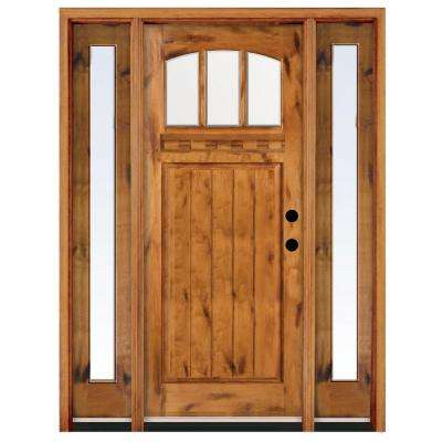 Craftsman 3 Lite Arch Stained Knotty Alder Wood Prehung Front Door with Sidelites