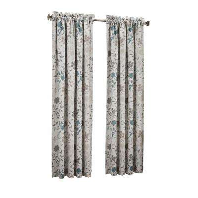 Abington Floral Printed Room Darkening Curtain Panel