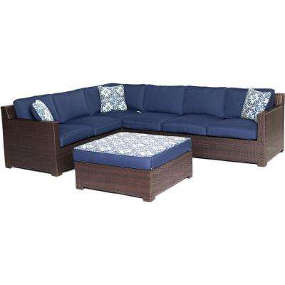 Metropolitan Brown 5-Piece Aluminum All-Weather Wicker Patio Seating Set with Protective Cover and Navy Blue Cushions