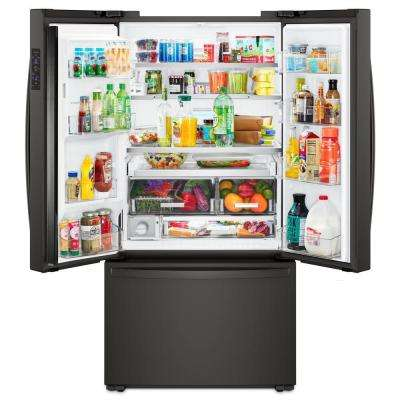 24 cu. ft. French Door Refrigerator in Black, Counter Depth