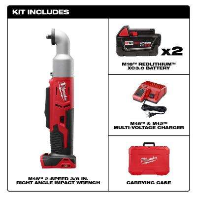 M18 18-Volt Lithium-Ion Cordless 3/8 in. 2-Speed Right Angle Impact Wrench Kit W/(2) 3.0Ah Batteries, Charger, Hard Case