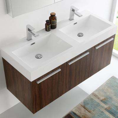 Vista 48 in. Vanity in Walnut with Acrylic Vanity Top in White with White Basins and Mirrored Medicine Cabinet