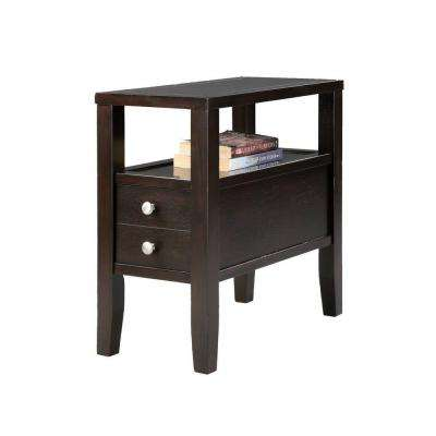 24 in. Traditional Dark Espresso Side/End Table with 2-Drawers
