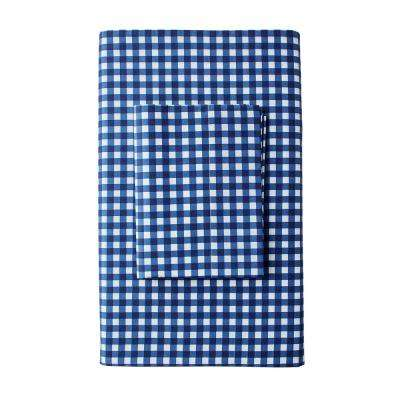 Gingham 200-Thread Count Cotton Percale Fitted Sheet
